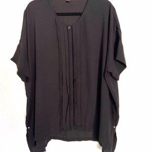 Dana Buchman   Black Sheer Button Down Top Sz XL